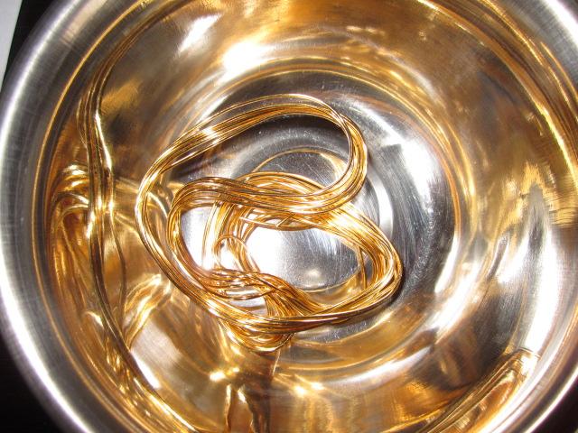 金線 金の糸 工業製品買取 プラチナ白金ロジウム線も買取しました!